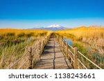 wooden bridge walkway path on...   Shutterstock . vector #1138243661
