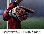 soccer goalkeeper gloves   Shutterstock . vector #1138251044