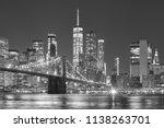 brooklyn bridge and manhattan... | Shutterstock . vector #1138263701