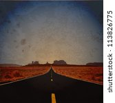 Grunge vector illustration of road.