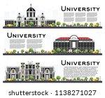 set of university campus study...   Shutterstock .eps vector #1138271027