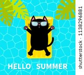 hello summer. swimming pool.... | Shutterstock .eps vector #1138296881