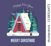 new year and christmas card... | Shutterstock . vector #1138316471