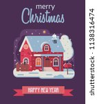 merry christmas and happy new... | Shutterstock . vector #1138316474