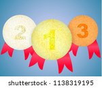 gold  silver and bronze medals...   Shutterstock .eps vector #1138319195