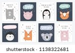 vector set of postcards with... | Shutterstock .eps vector #1138322681