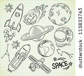 space doodle set | Shutterstock .eps vector #113833765