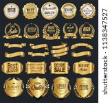 super sale retro golden badges...   Shutterstock .eps vector #1138347527
