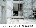 building site construction with cement wall and steel  frame constructure - stock photo