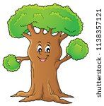 cheerful tree theme image 1  ... | Shutterstock .eps vector #1138357121