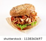 pulled chicken kebab burger... | Shutterstock . vector #1138363697