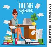 business woman doing paperwork... | Shutterstock .eps vector #1138366301