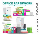 stack of papers  file folders...   Shutterstock .eps vector #1138366307