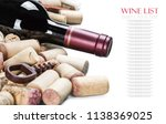 bottle with red wine and wine... | Shutterstock . vector #1138369025