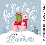 cute llama christmas card with... | Shutterstock .eps vector #1138373234
