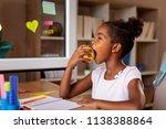 beautiful little girl sitting... | Shutterstock . vector #1138388864
