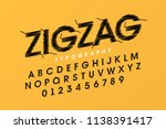 zigzag font stitched with... | Shutterstock .eps vector #1138391417
