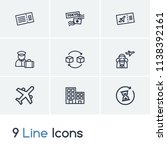 airport icon set and air ticket ...