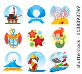 a set of stickers with a summer ... | Shutterstock .eps vector #1138393769