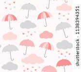 vector pattern with umbrella ... | Shutterstock .eps vector #1138394351