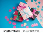 decorated boxes and confetti on ... | Shutterstock . vector #1138405241
