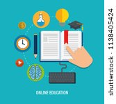 on line education with computer | Shutterstock .eps vector #1138405424