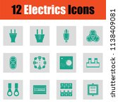 electrics icon set. green on... | Shutterstock .eps vector #1138409081