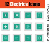 electrics icon set. green on... | Shutterstock .eps vector #1138409117