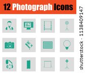 photography icon set. green on... | Shutterstock .eps vector #1138409147