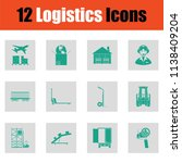 logistics icon set. green on... | Shutterstock .eps vector #1138409204