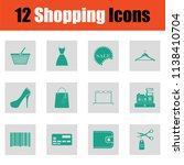 shopping icon set. green on... | Shutterstock .eps vector #1138410704