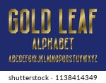 gold leaf alphabet. high... | Shutterstock .eps vector #1138414349