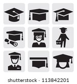 vector black education icons... | Shutterstock .eps vector #113842201