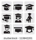 vector black education icons... | Shutterstock .eps vector #113842201