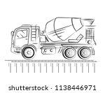 concrete mixer truck in sketch... | Shutterstock .eps vector #1138446971