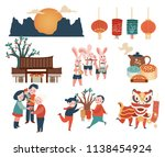 mid autumn festival celebration ... | Shutterstock .eps vector #1138454924