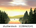 wild terrain with lake  river ... | Shutterstock .eps vector #1138463141