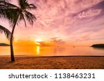 at sunset time on the tropical... | Shutterstock . vector #1138463231