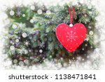 red heart on christmas tree as... | Shutterstock . vector #1138471841
