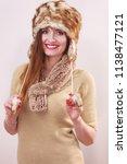 winter fashion. young woman... | Shutterstock . vector #1138477121