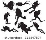 vector scuba diving silhouette | Shutterstock .eps vector #113847874