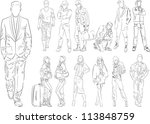 fashion people outline   vector ... | Shutterstock .eps vector #113848759