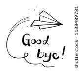 good bye plane drawing | Shutterstock .eps vector #1138489781