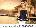 slim woman and summer time  | Shutterstock . vector #1138490087