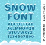 snow winter font. snowy... | Shutterstock .eps vector #1138491017