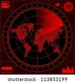 radar screen with world map....   Shutterstock .eps vector #113853199