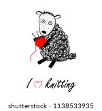 knitting logo with funny sheep... | Shutterstock .eps vector #1138533935