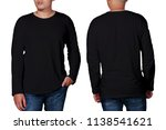 black long sleeved t shirt mock ... | Shutterstock . vector #1138541621