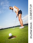 smiling woman golf player... | Shutterstock . vector #113855719
