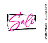 pink sale hand lettering in the ... | Shutterstock .eps vector #1138566845